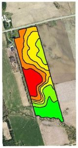 Topographic Zones Red is high (1020-1050ft), orange are side slopes, Green is low (970-980 ft)