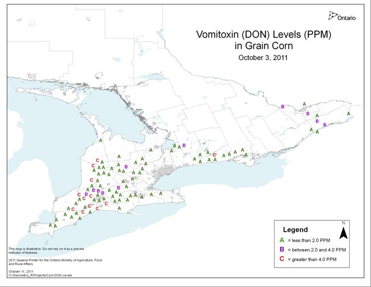 2011 Vomitoxin map