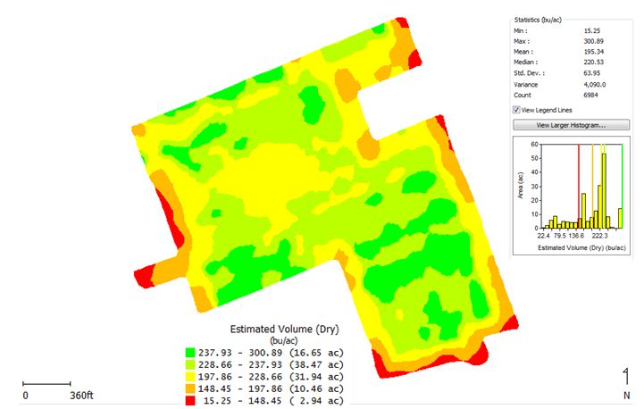 2013 corn yield map from the variable rate population trial.