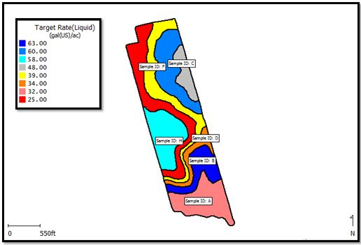 Nitrogen prescription map (zone name labelled)