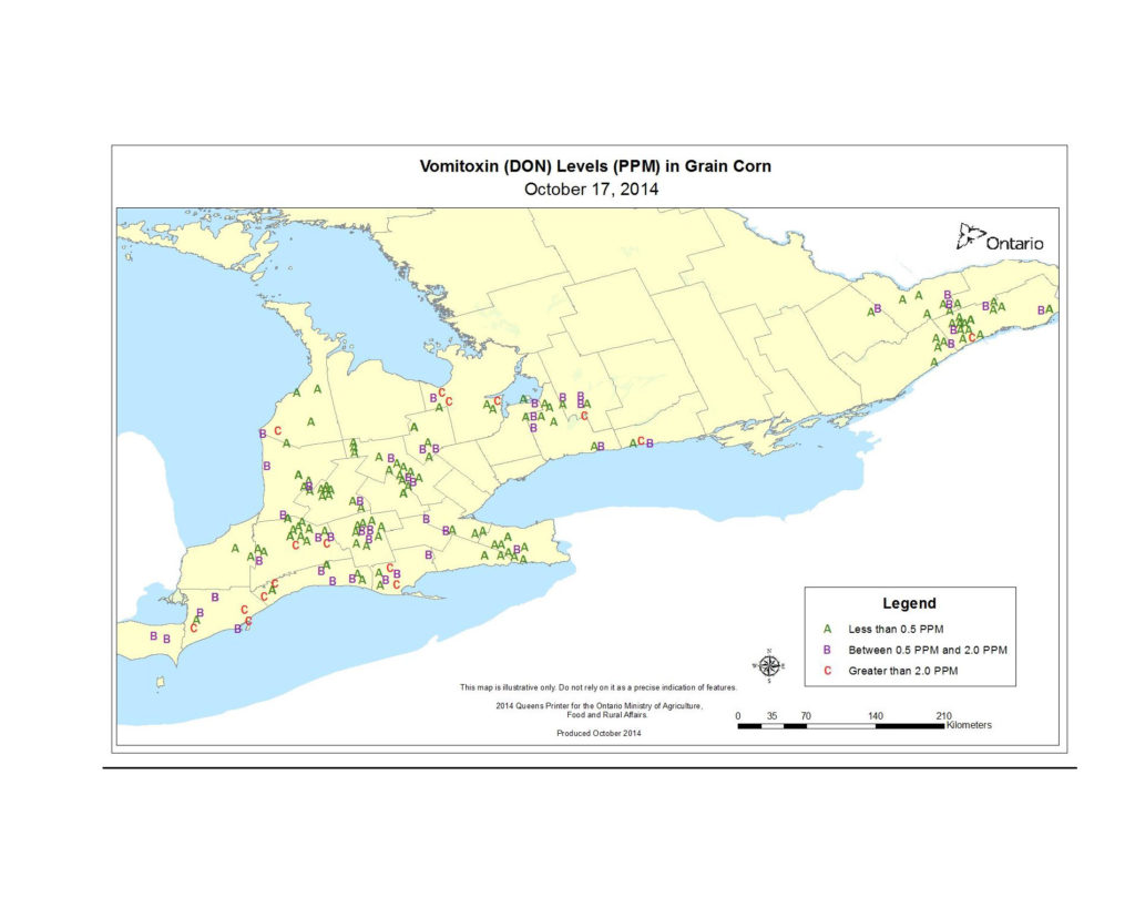 Figure 1. Map of Vomitoxin (DON) levels (PPM) in grain corn sample throughout Ontario on October 17, 2014.
