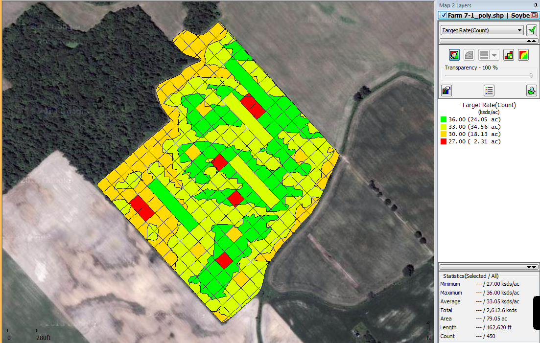 Figure 2. 2015 Variable Rate corn population map with checks built into the prescription map (Source: Veritas http://myveritas.ca/ )