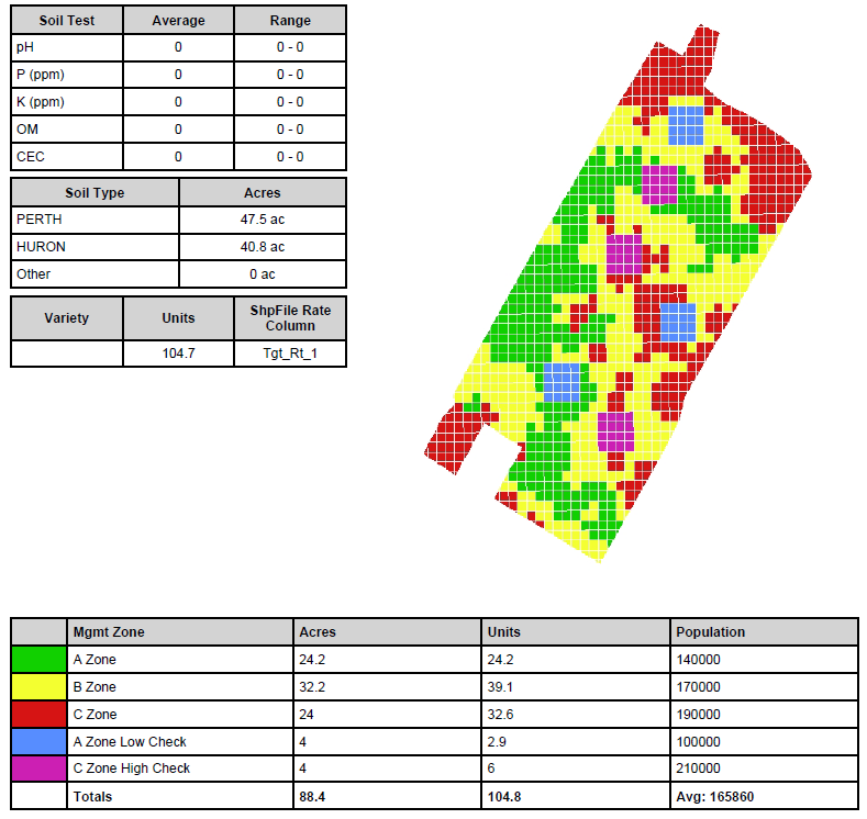 Figure 1: Variable Rate Soybean population map with automated Learning Blocks™ built into the map (Source: Premier Equipment & Premier Crop Systems www.premiercrop.com )