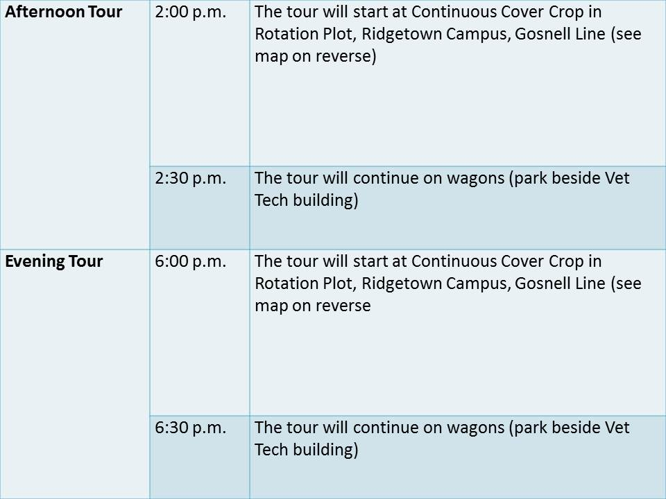 Ridgetown Campus Anniversary Tour Agenda