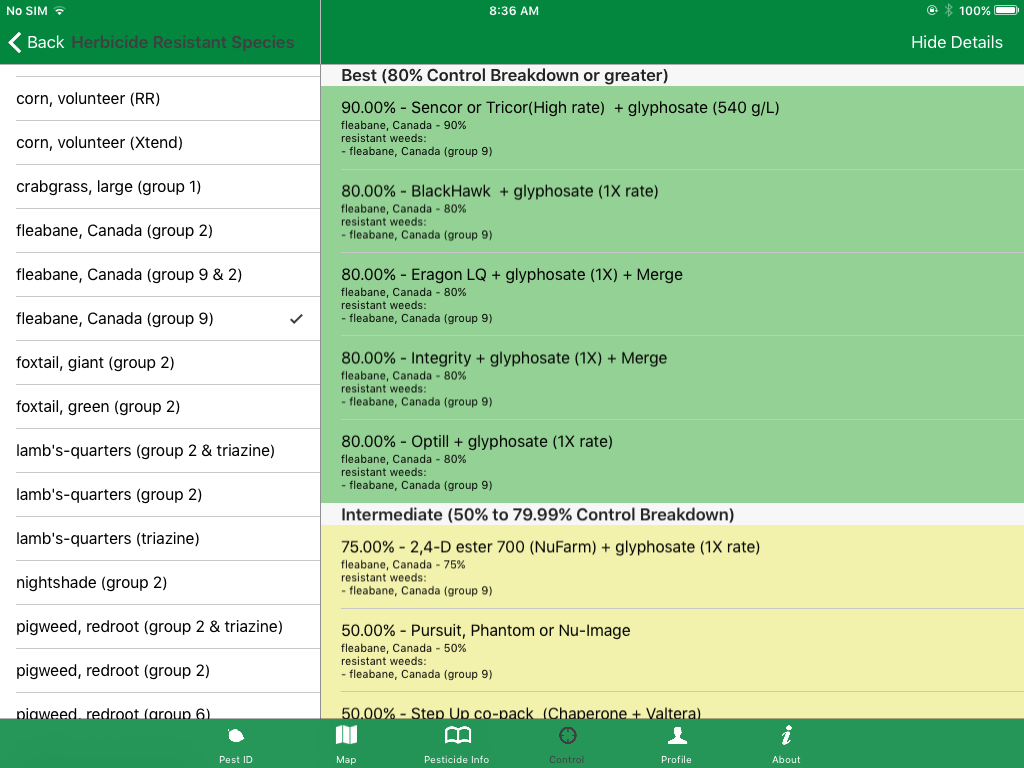 Figure 1: In the pest manager app, a user can identify that they have a herbicide resistant weed and the app will automatically select herbicide treatments that will be effective on that species.
