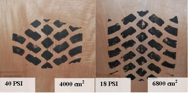 Comparison of tire footprint at high and low pressure (OMAFRA)