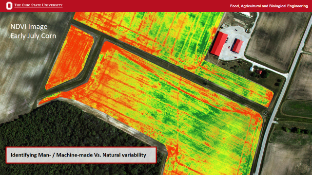Tire tracks in this field are clearly visible from overhead NDVI imagery (Fulton and Shearer, OSU)