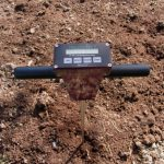 Soil penetrometer measures how much pressure it takes to penetrate through soil