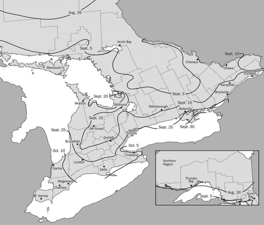 Figure 1: Optimum date to seed winter wheat across Ontario, OMAFRA Pub 811.