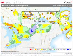 percent of average rainfall Ontario July 2018