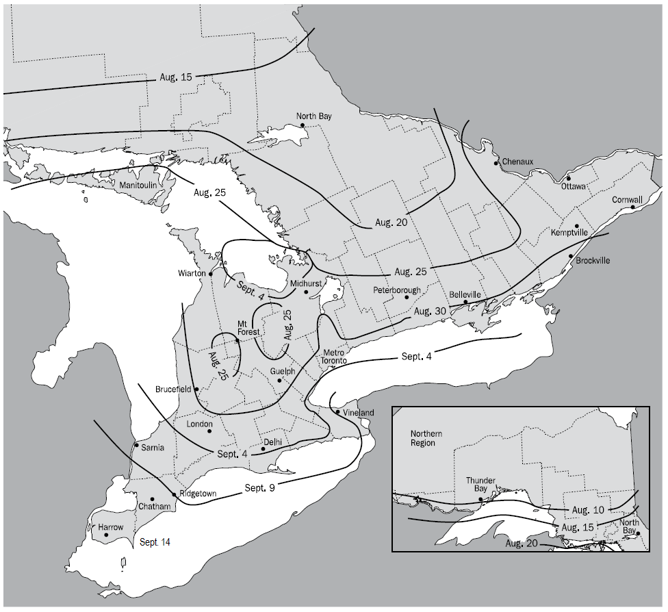 Map of start dates for the critical fall harvest period of alfalfa in Ontario