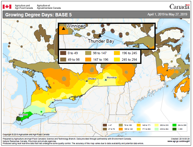 map showing accumulation of growing degree days in Ontario from April 1 to May 27, 2019