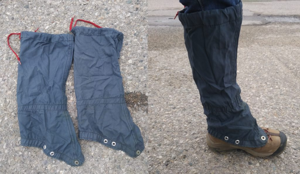 Gaitors worn over pant legs and short boots. Gaitors are like rain jackets for your lower legs. They tie near the knee and cover the laced area of boots.