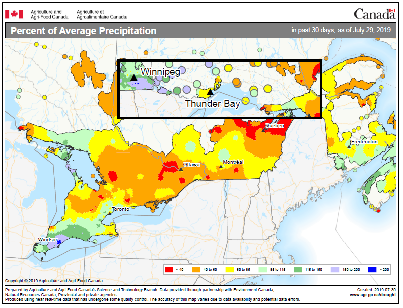 map showing percent of average rainfall in July 2019 in Ontario. Most of the province had below average rainfall, except the north shore of Lake Eire, and northwestern Ontario.