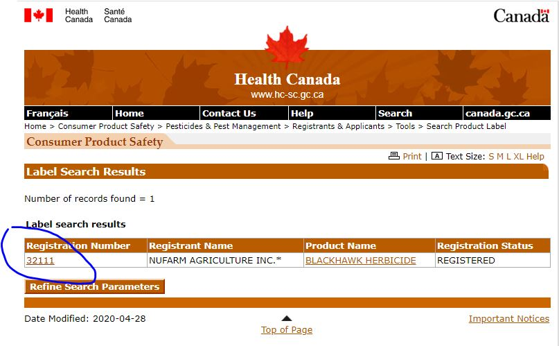 "A screen capture of the search result for ""Blackhawk"" herbicide. Note that to access the .pdf version of the label you have to ""click on"" the registration number, not the Product name."