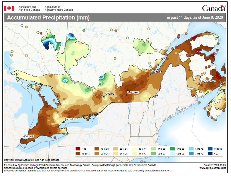 map of accumulated precipitation across Ontario between May 25 and June 8 2020