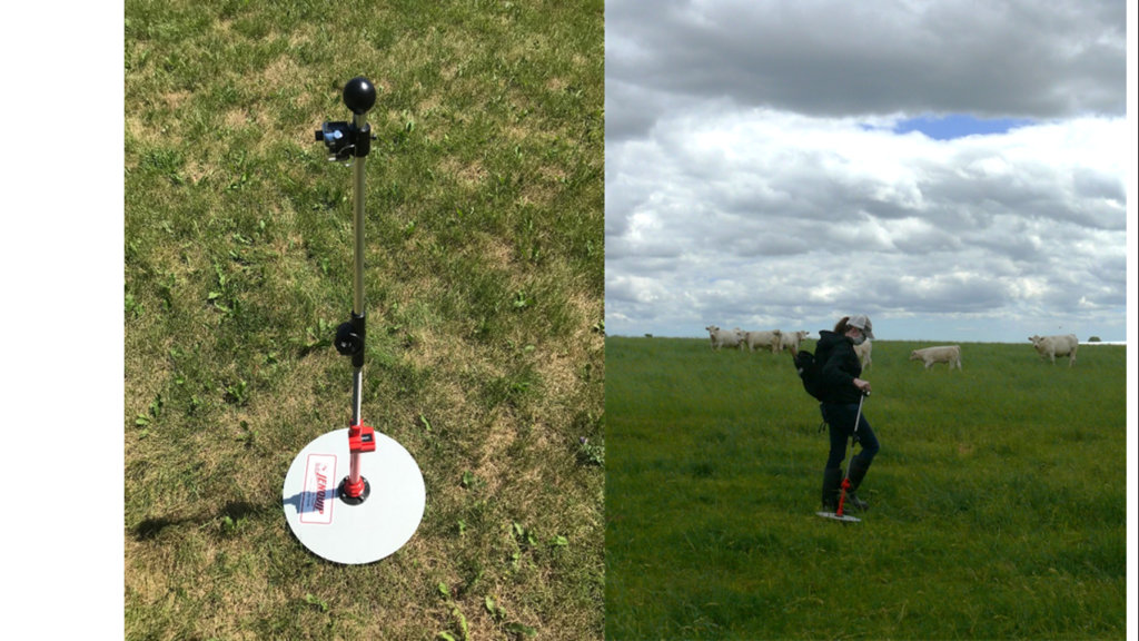 A rising plate meter is used to measure the amount of grazeable grass in a pasture