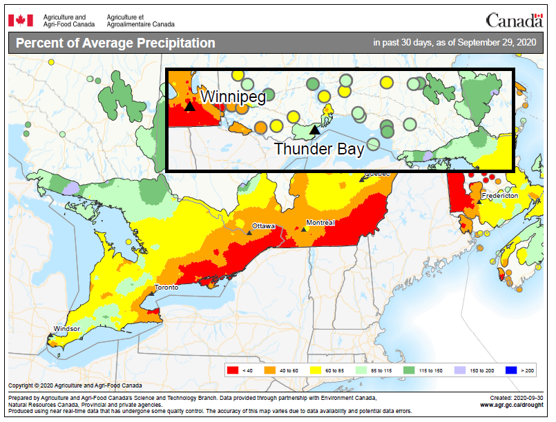 map depicting the percent of average precipitation received across Ontario, Sept 2020