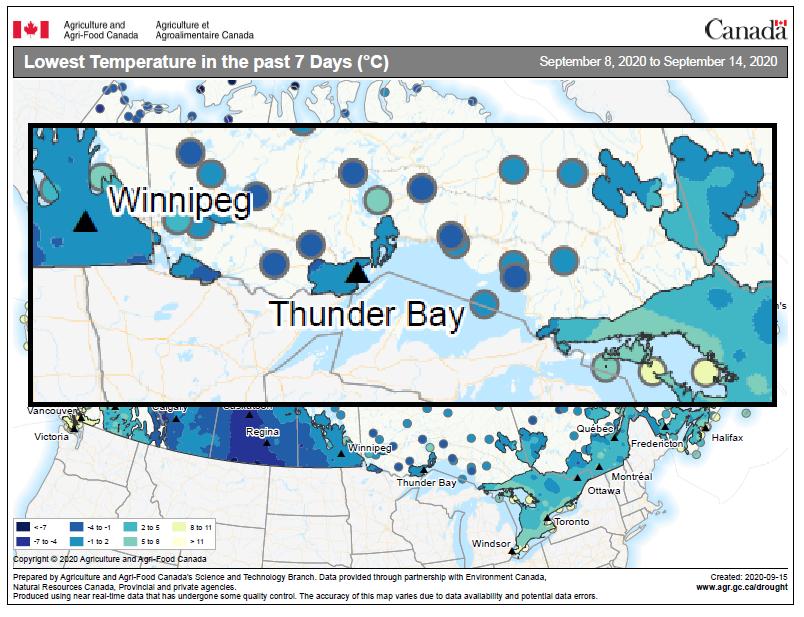 map depicting lowest temperature between Sept 8-14, 2020