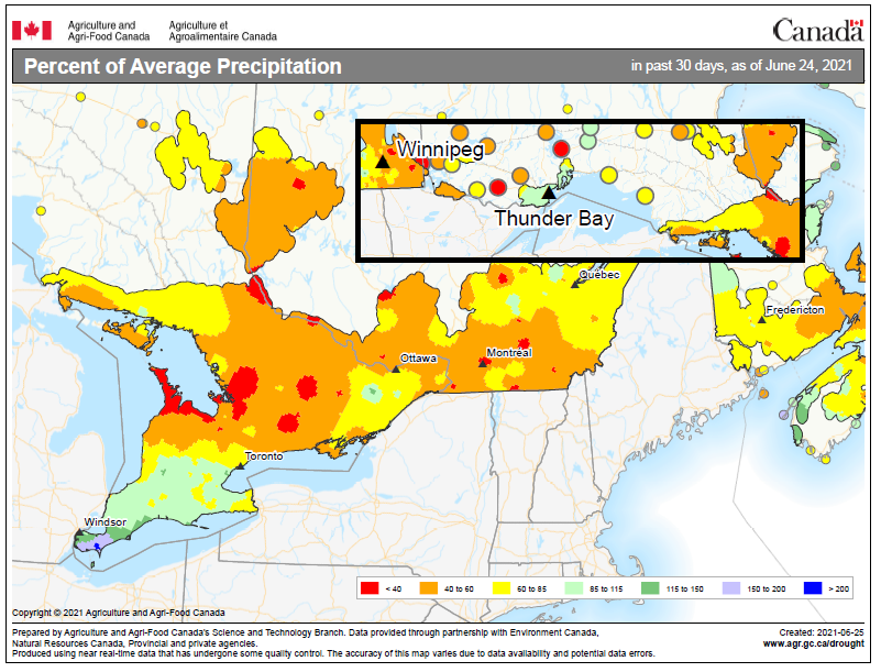 map depicting the percent of average precipitation received across Ontario in June 2021