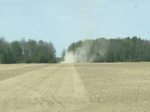 Figure 2. Land Rolling to conserve moisture.