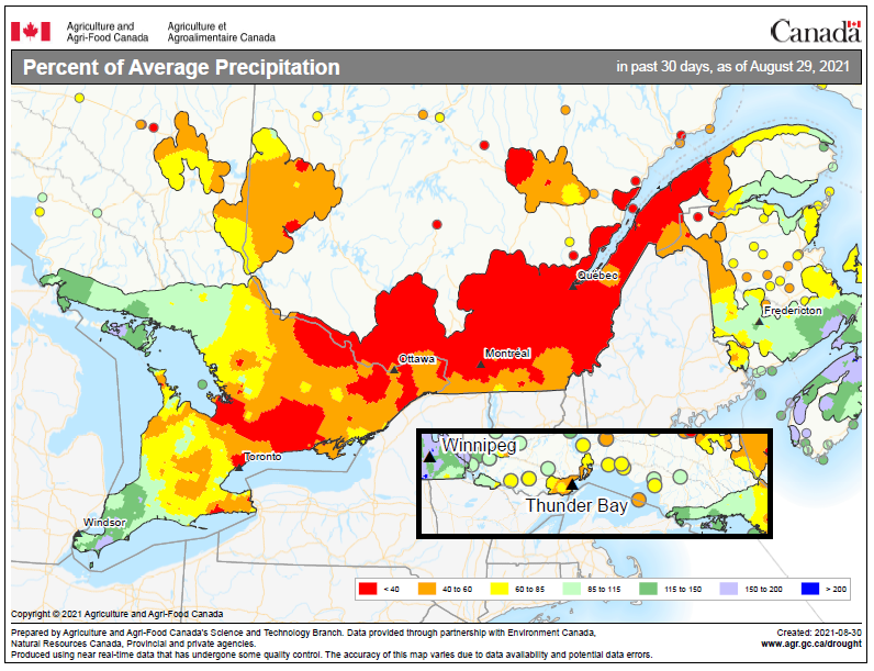 map of Ontario showing the percent of average rainfall received during August 2021