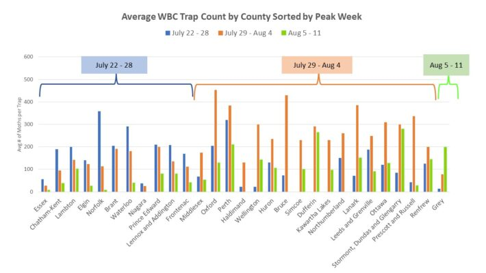 Figure 3. Average WBC trap counts by county, sorted by peak flight periods.