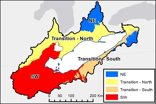 Figure 1. Differing phosphorus management regions in the Lake Erie watershed as proposed by Dr. Macrae and colleagues.